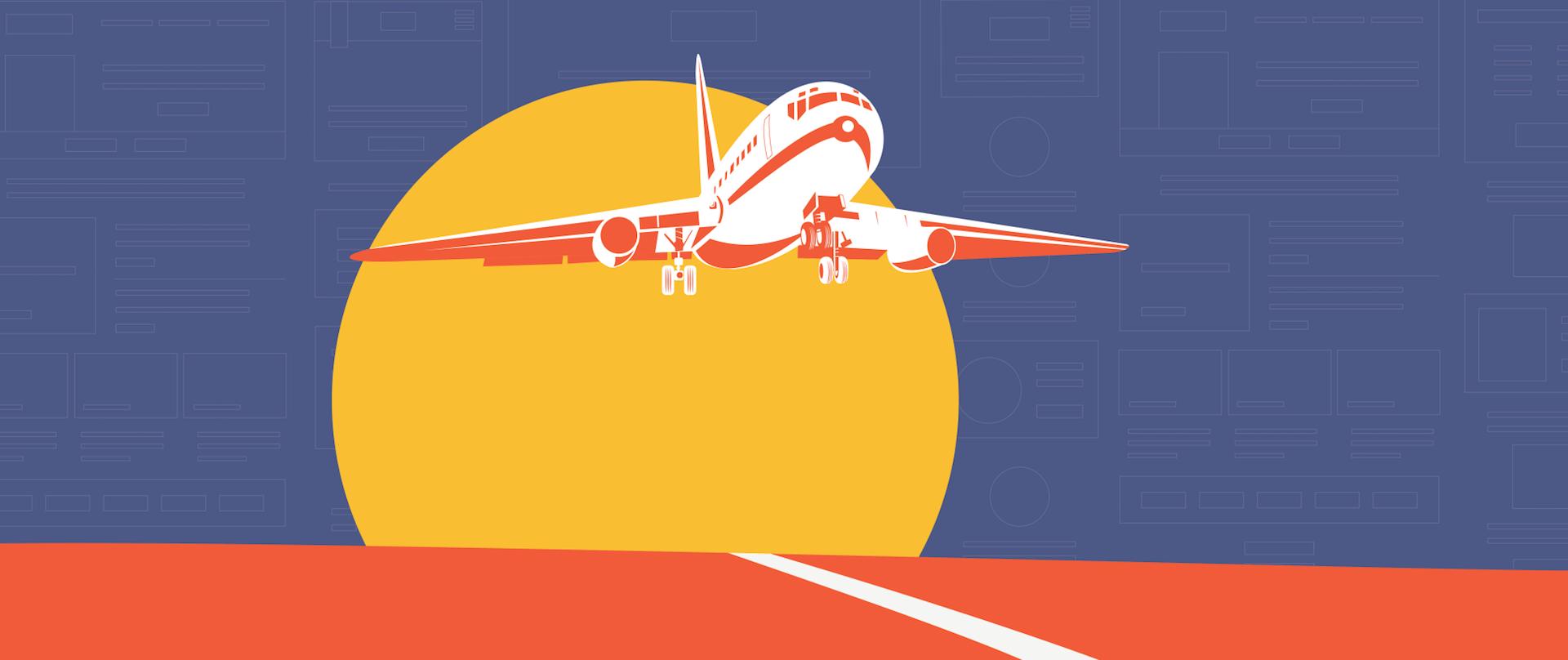 An airplane landing on a strip.