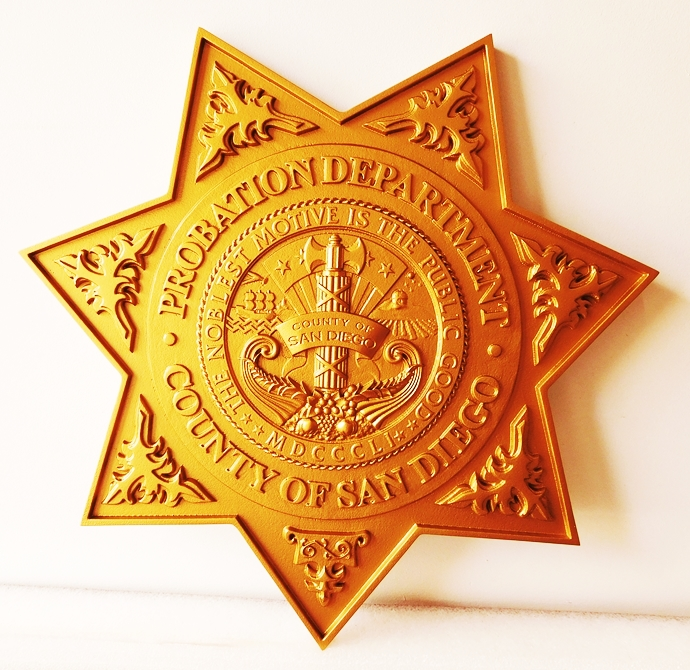 PP-1570 - Carved Wall Plaque of the Star Badge of the Probation Department,  San Diego, California,  Painted Gold Metallic