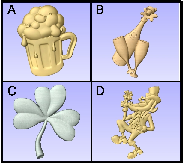 RB27715 - 3-D Carved Bas-relief Appliques for Irish and English Pubs (Leprechaun, Shamrock, Beer Mug, Champagne Bottle)