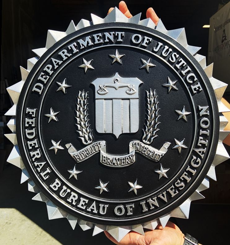 AP-2411 -  Carved Plaque of the Seal of the US Department of the Federal Bureau of Investigation (FBI), 3-D Aluminum-Plated