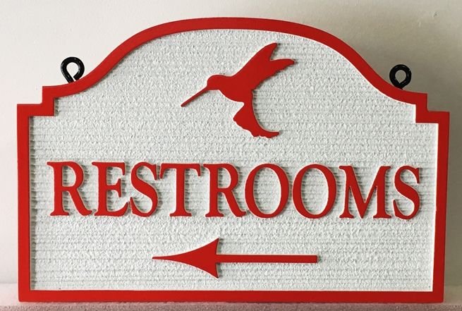 T29418 - Carev and Sandblasted Wood Grain Restroom Sign, 2.5-D