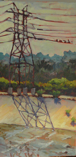 "Powerlines, LA River, oil on canvas panel, 20"" x 10"""