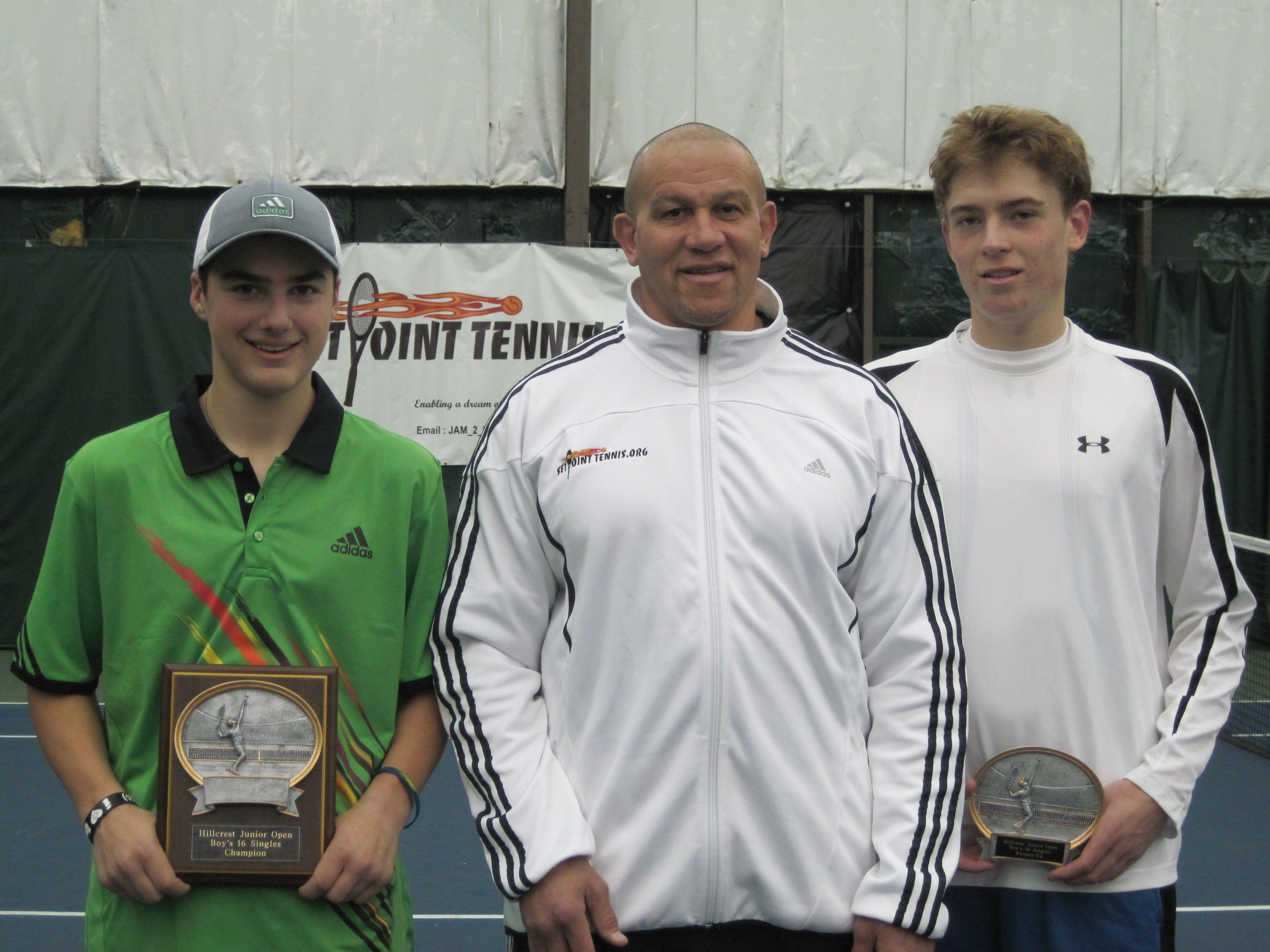 Hillcrest Level 4 Boys 16 Tennis Tournament Singles Champion and Runnerup