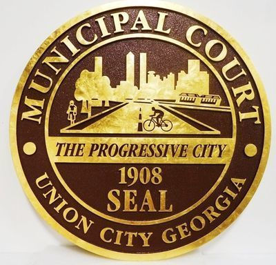 HP-1105 - Carved Plaque of the Seal of the Municipal Court, Union City, Georgia, 24K Gold Leaf Gilded