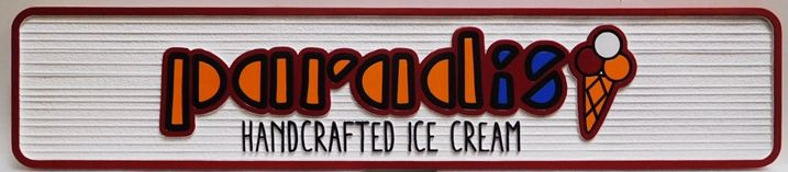 Q25819 - Carved and Sandblasted Wood Grain HDU Sign for Paradis Hand-Crafted Ice Cream, 2.5-D Artist-Painted with Ice Cream Cone as Artwork