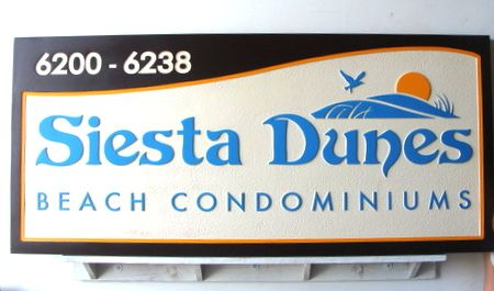 "K20121  - ""Siesta Dunes"" Beach Condominium Entrance and Address Sign"