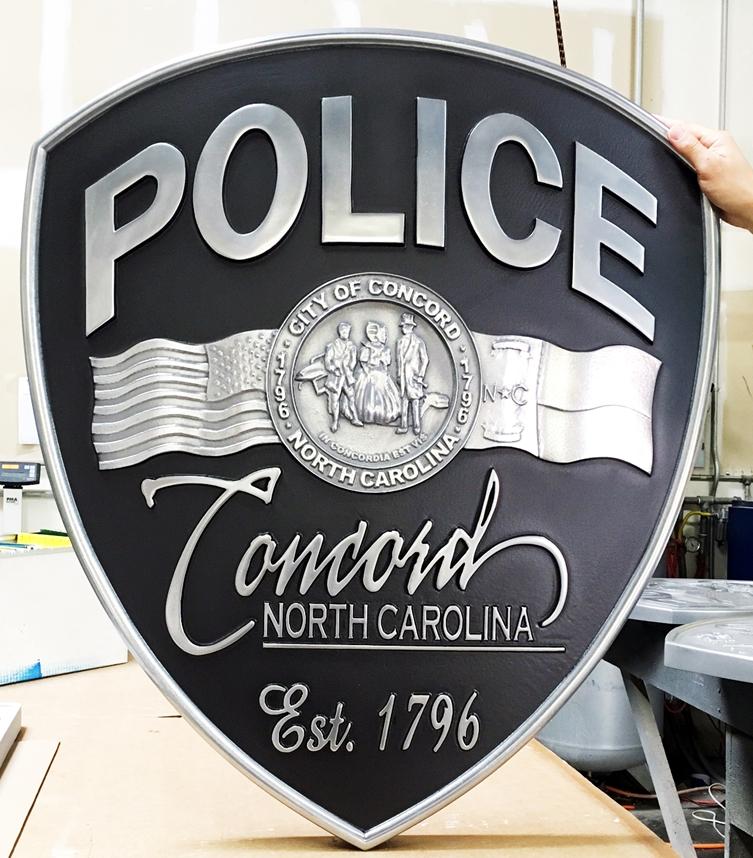 MD4220 - Police Shoulder Patch, Concord, North Carolina, Aluminum 3-D