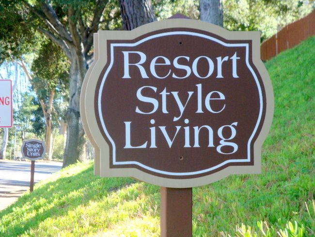 "KA20832 - Carved Wood Grain HDU Sign for Apartment Complex ""Resort Style Living"""