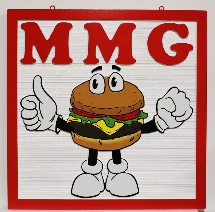 Q25809 - Carved and Sandblasted HDU Sign for the MMG Restaurantm, wit Cartoon Hamburger Figure as Artwork
