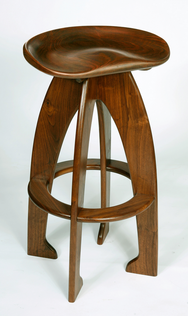 Walnut Carved Seat barstool