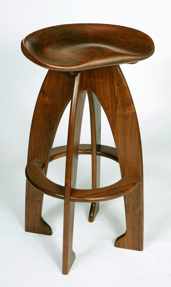 Walnut Carved Seat barstool