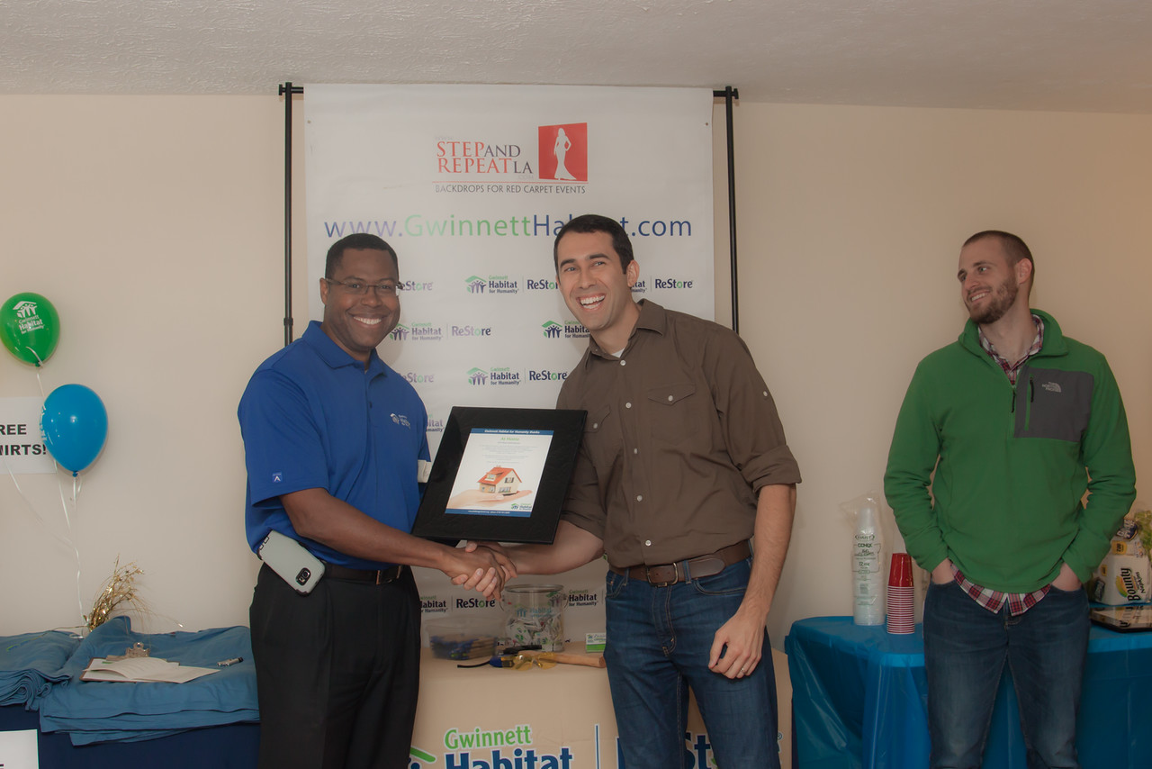 Appreciation plaque is presented to 12Stone Church