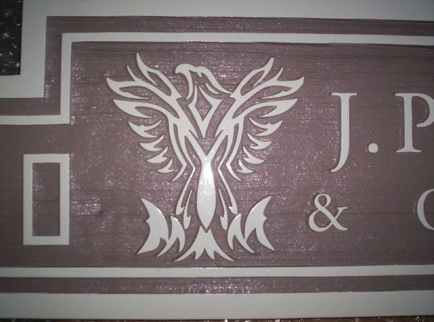 SA28545 - Stylized Carved Eagle on Sandblasted Cedar Sign