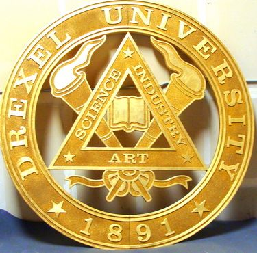RP-1100 - Large Carved Graduation Ceremony  Plaque of  the Seal of Drexel University,  Pennsylvania, Gold Leaf Gilded