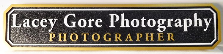 """SA28414 - Carved 2.5-D  HDU  Sign for the """"Lacie Gore Photography Studio"""""""