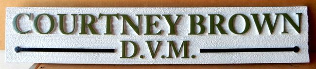 BB11806 -- Attractive nameplate sign with 24K gold-leaf border for Doctor of Veterinary Medicine, DVM