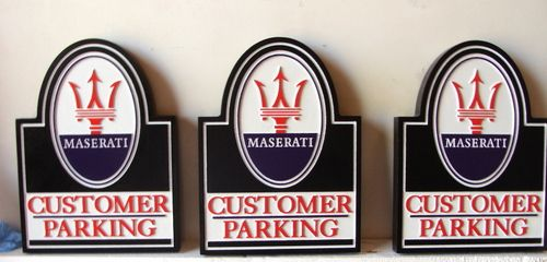 "SA28752 - Carved HDU Signs for ""Customer Parking""with Maserati Logo"