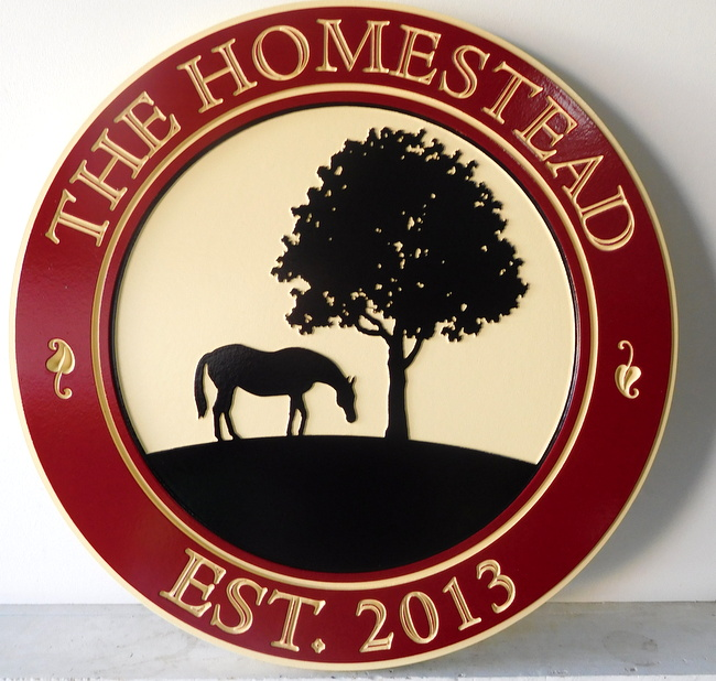 "P25096 - Engraved HDU  Farm Sign, "" The Homestead""  with Silhouette of Tree and Horse Grazing"