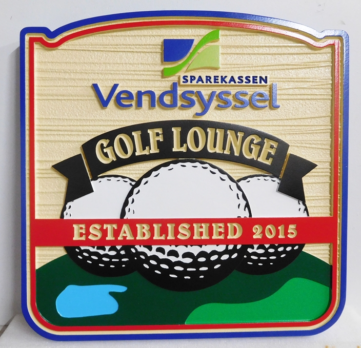 E14662 - Carved and Sandblasted Wood Grain Golf Lounge Wall Sign with Golf Ball Logo