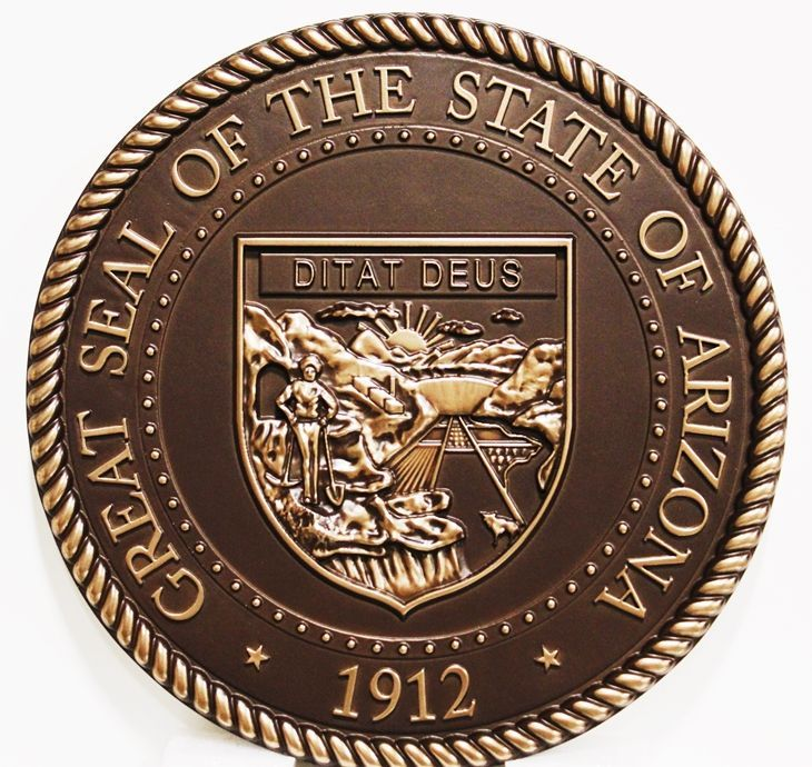 GP-1025 - Carved 3-D Bas-Relief Bronze-plated Plaque of the Seal of an Arizona State Court