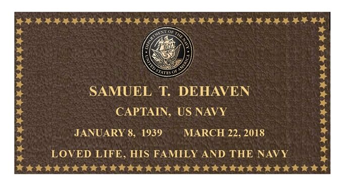 GC16880 -  Brass Memorial Wall Plaque for Captain Samuel T. DeHaven, US Navy