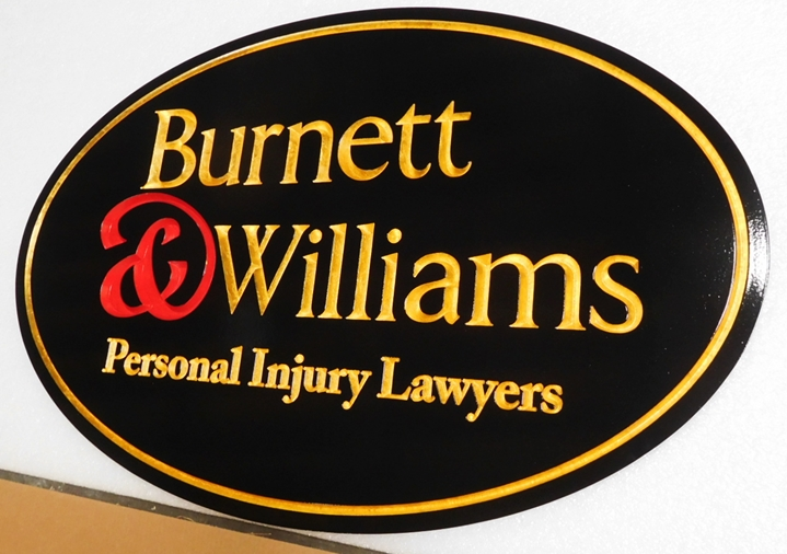 "A10450 - Carved  Sign for ""Burnette & Williams - Personal Injury Lawyers"", Engraved with Text Gilded with 24K Gold Leaf"