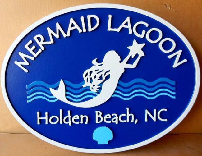 L21910 - Sign for Mermaid Lagoon with Mermaid, Starfish, Sea with Waves and Shell