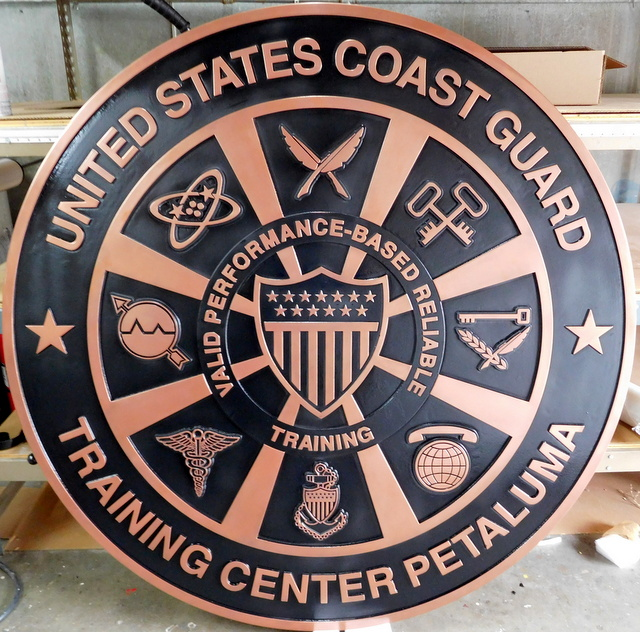 NP-2020 - Carved Plaque of Seal of US Coast Guard Training Center in Petaluma, CA,  Copper Plated