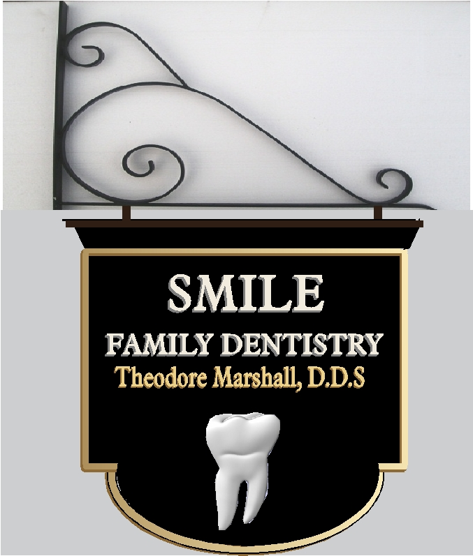 BA11610 - Sandblasted HDU Wall or Hanging Dentist Sign with Carved Molar