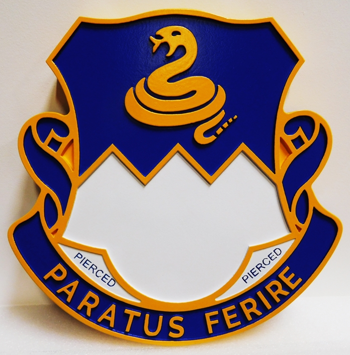"MP-2070 - Carved Plaque of Crest of 411th Army Regiment  Unit with Slogan ""Paratus Ferire"", or ""Ready to Strike"", Artist Painted"