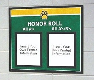 Honor Roll school sign in green/yellow with paper holder, school signs, custom signs
