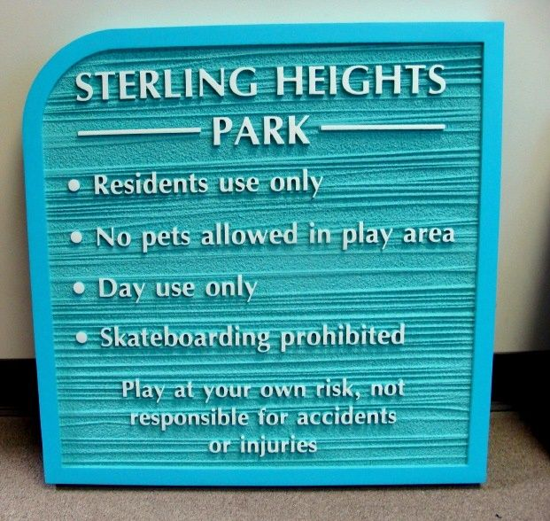 """KA20770 - Wood Grain, Carved HDU Sign for Condominium Park """"Residents Use Only"""""""