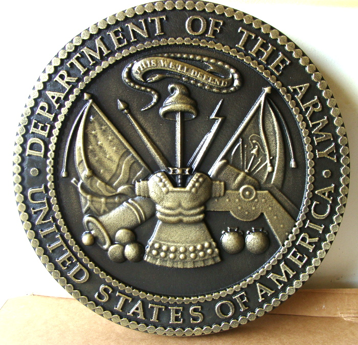 V31706 - Brass-Coated Carved 3D Wall Plaque of US Army Great Seal