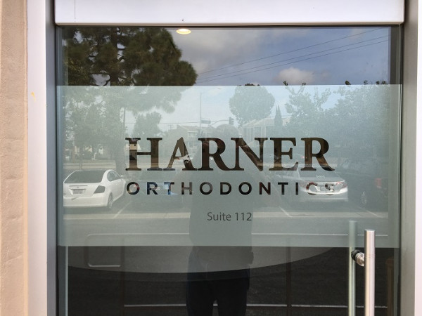 Office Window Clings : Etched vinyl window graphics dental offices orange county ca