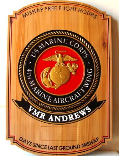 SB1110 - Safety Plaque for the 4th Marine Aircraft Wing , Carved from Western Red Cedar with 3-D Marine Corps Emblem