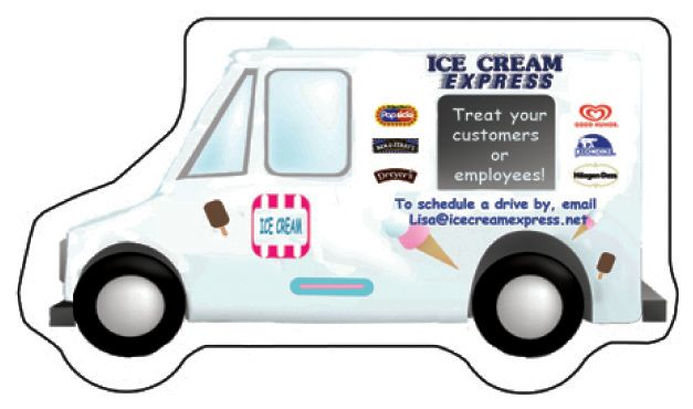 Ice Cream Express Custom Die Cut Refrigerator Magnet