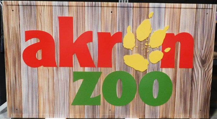 GA16495 - Large Carved High-Density-Urethane (HDU)  Sign  for Akron Zoo, with Lion Paw Print as Artwork.