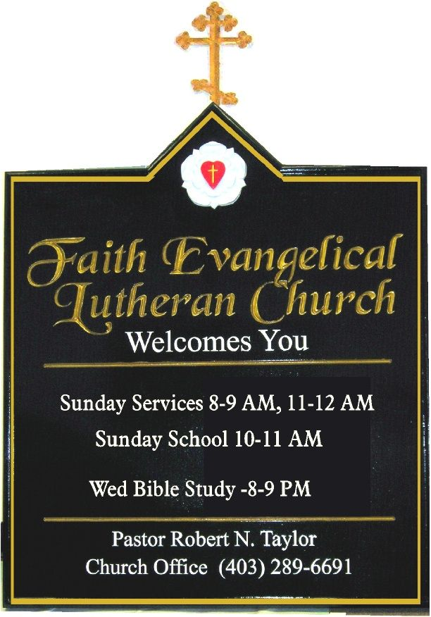 D13020 - Carved HDU Welcome Sign with Large Cross for Faith Evangelical Church