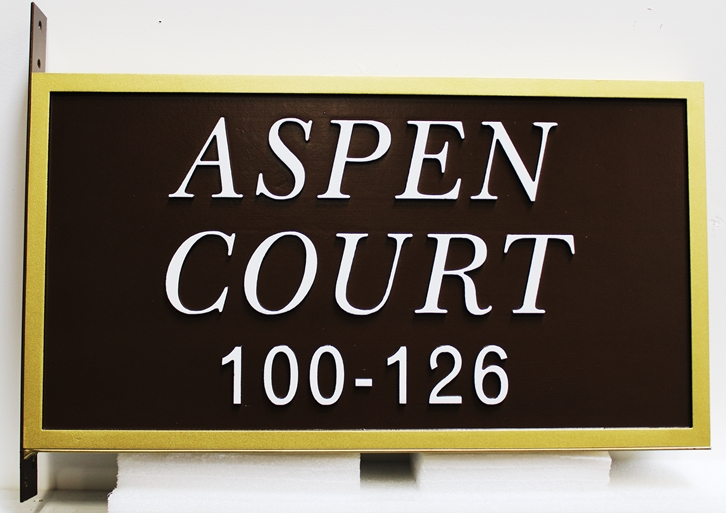 H17079 - Carved HDU Street Name and Address Number  Sign, Aspen CourtWay, with Side Bracket