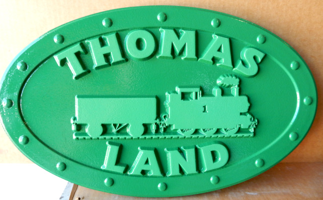 GA16543 - Carved, HDU Sign with Train Locomotive on Vintage Locomotive Steel Plate with Rivets