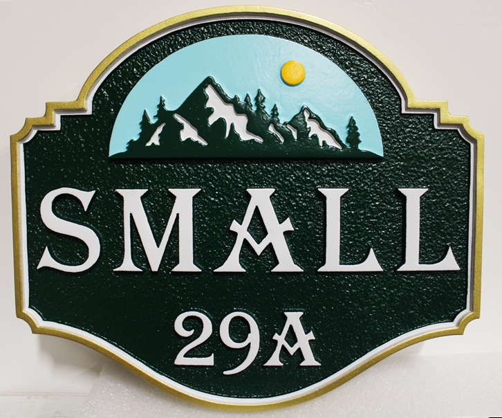 M22214 - Carved  HDU Address Sign for the Small Property with  Mountains, Trees , and  Sun