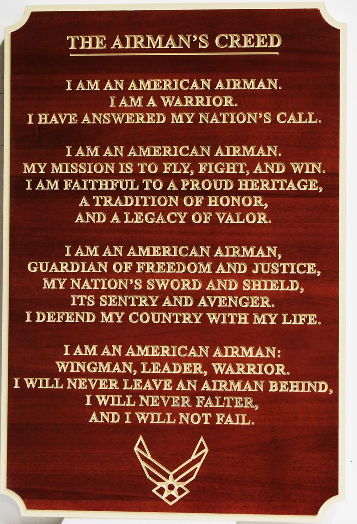 M3744 -Engraved Mahogany  Plaqueof the Airman's Creed (Gallery 31)