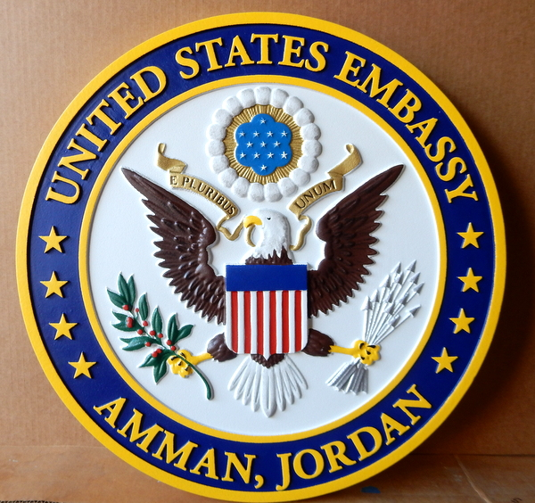 U30328 - Carved 3-D Hand-painted Wall Plaque of Great Seal of the US for the US Embassy in Amman, Jordan
