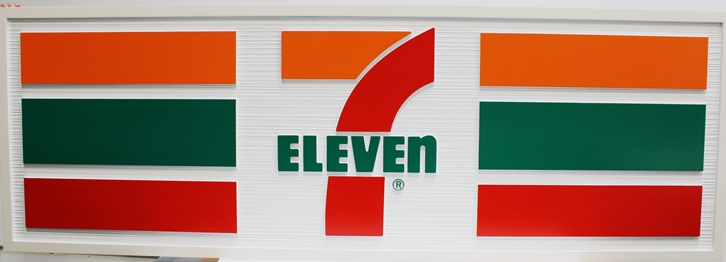 S28005A- Large Carved and Sandblasted Wood Grain  HDU Commercial Wall Sign  for a 7-11 Store, 2.5-D Artist-Painted