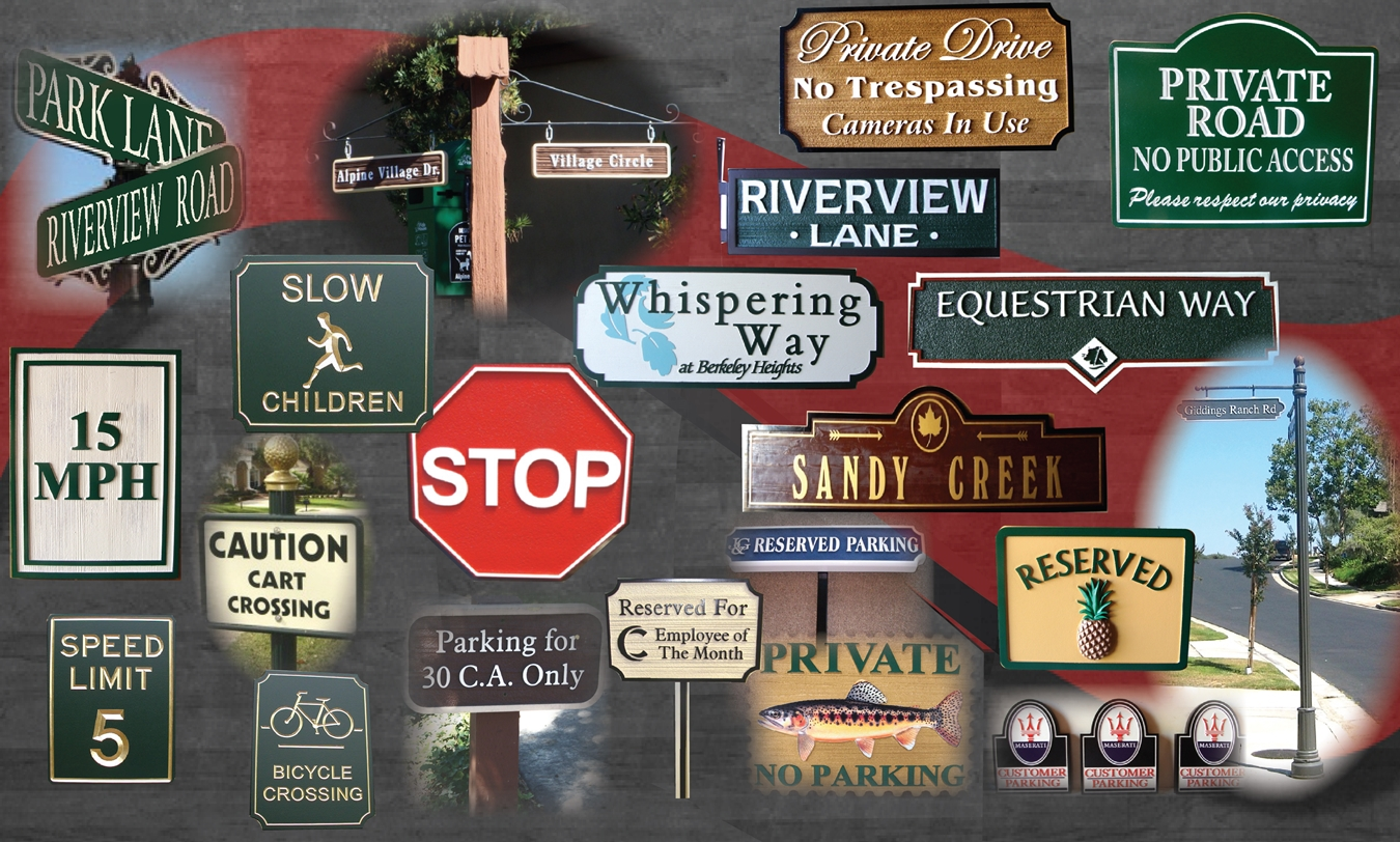 Custom Wood Street Traffic And Parking Signs