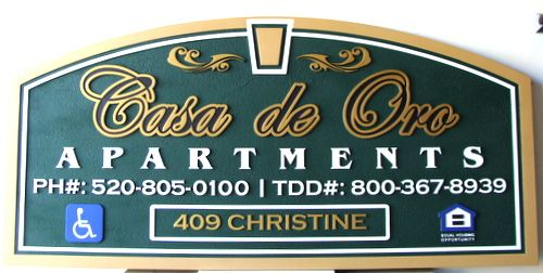 K20082 - Green and Metallic Gold Sandblasted Wood  Arch Entrance Sign for Apartments