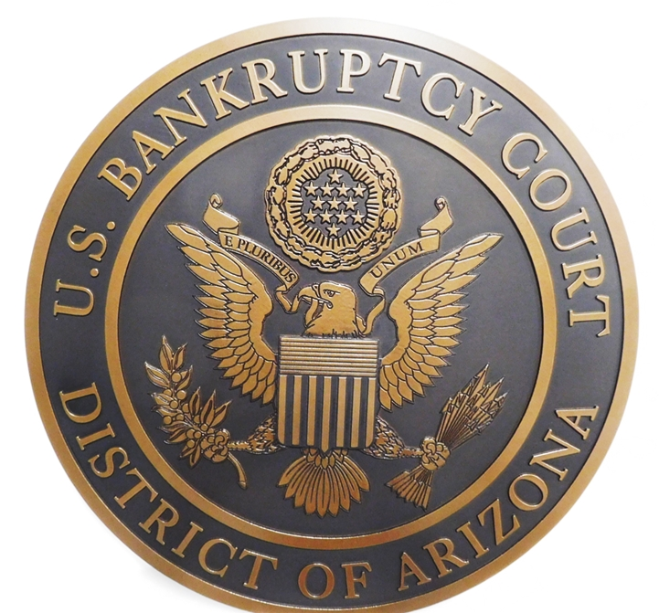 FP-1410 - Carved Plaque of the Seal of  the US Bankruptcy  Court of the District of Arizona, 2.5-D flat relief, Bronze plated