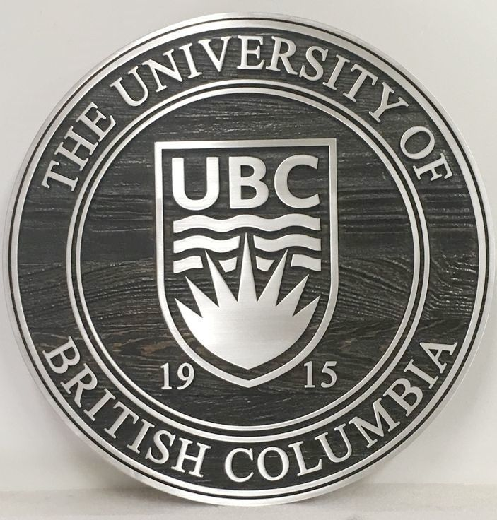 RP-1220 - Carved Wall Plaque of  the Seal of the University of British Columbia, Aluminum Clad Cedar