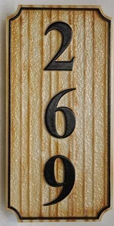 KA20869A - Carved and Sandblasted Wood Grain High-Density-Urethane (HDU) Vertical Unit Number Sign