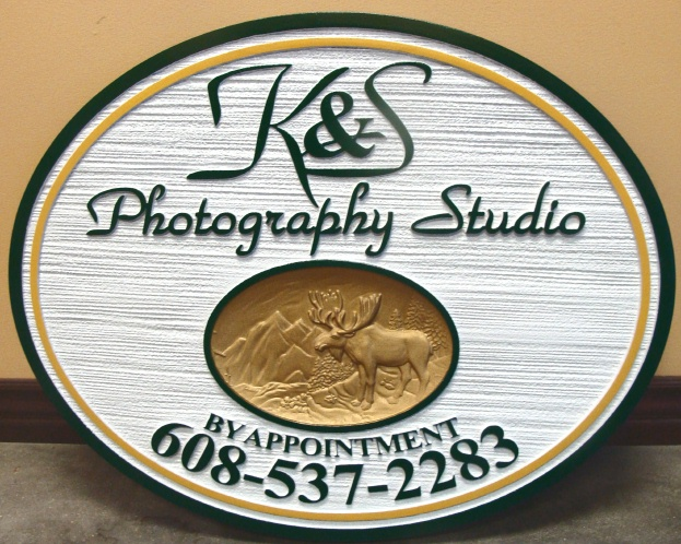 "SA28421 - Attractive Wood-Grain Sign for""K&S  Photographic Studio"", with Recessed 3-D Carving of a Moose"